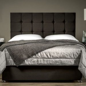 Black Chenille Bed Set With Drawers Storage