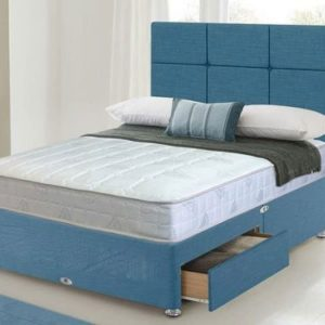 blue fabric divan bed